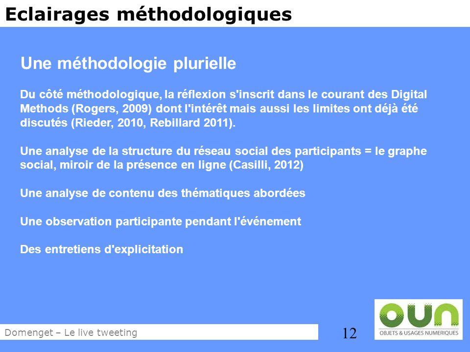 12 Eclairages méthodologiques Une méthodologie plurielle Du côté méthodologique, la réflexion s'inscrit dans le courant des Digital Methods (Rogers, 2