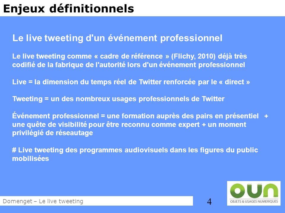 4 Enjeux définitionnels Le live tweeting d'un événement professionnel Le live tweeting comme « cadre de référence » (Flichy, 2010) déjà très codifié d