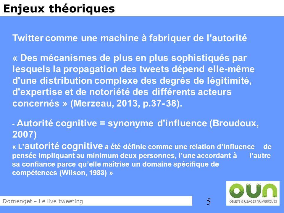 5 Enjeux théoriques Twitter comme une machine à fabriquer de l'autorité « Des mécanismes de plus en plus sophistiqués par lesquels la propagation des