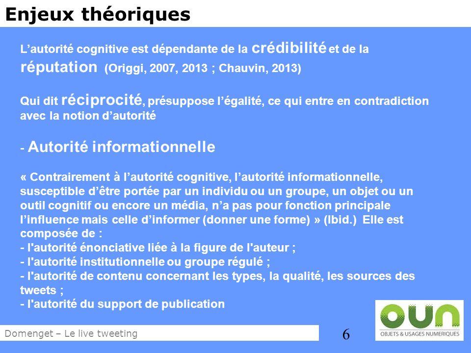 6 Enjeux théoriques Lautorité cognitive est dépendante de la crédibilité et de la réputation (Origgi, 2007, 2013 ; Chauvin, 2013) Qui dit réciprocité,