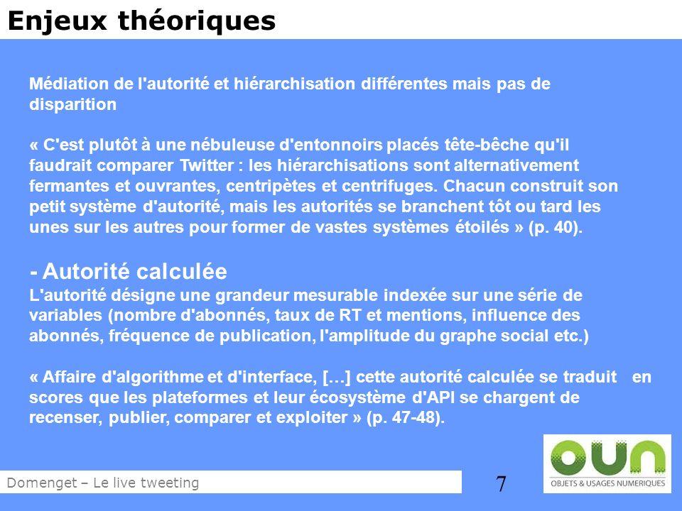 8 Enjeux théoriques La dimension stratégique de la participation n est plus à démontrer Cartographie des usages de Twitter chez les professionnels de la visibilité (Domenget, 2012) Domenget – Le live tweeting