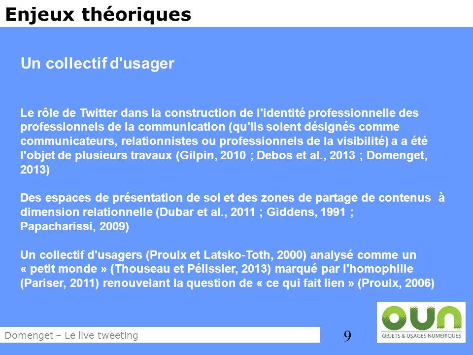 9 Enjeux théoriques Un collectif d'usager Le rôle de Twitter dans la construction de l'identité professionnelle des professionnels de la communication