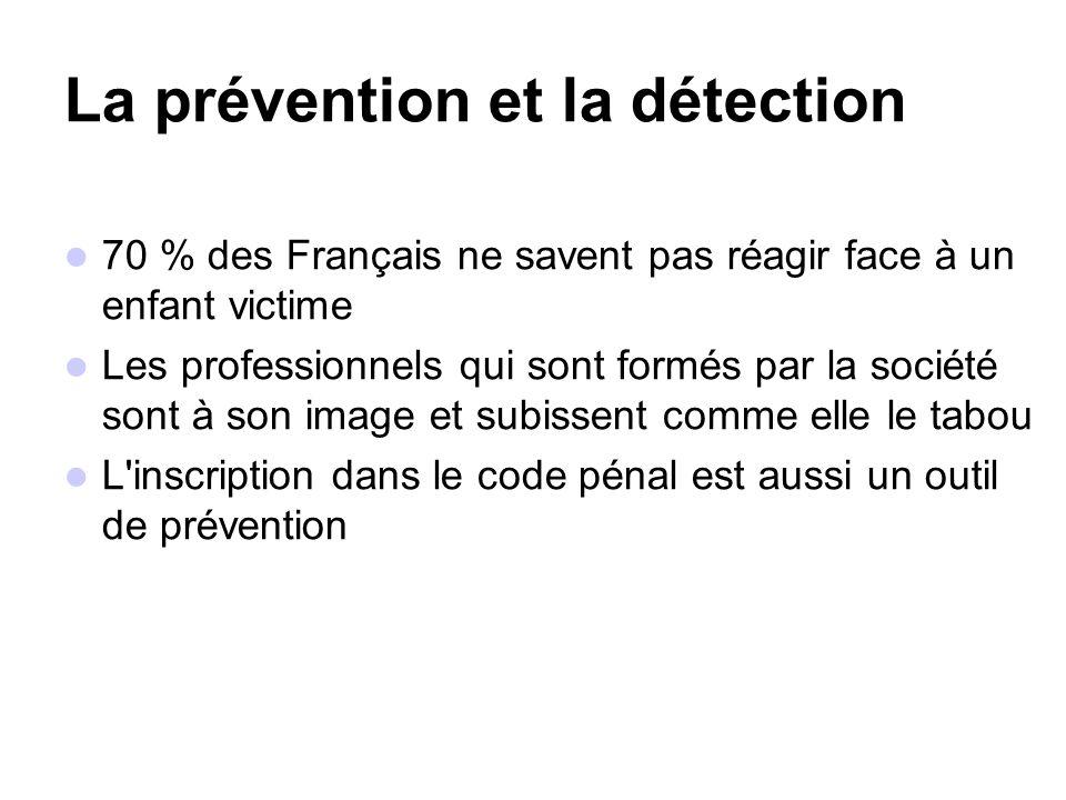 La prévention et la détection 70 % des Français ne savent pas réagir face à un enfant victime Les professionnels qui sont formés par la société sont à son image et subissent comme elle le tabou L inscription dans le code pénal est aussi un outil de prévention