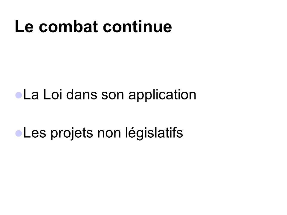 Le combat continue La Loi dans son application Les projets non législatifs