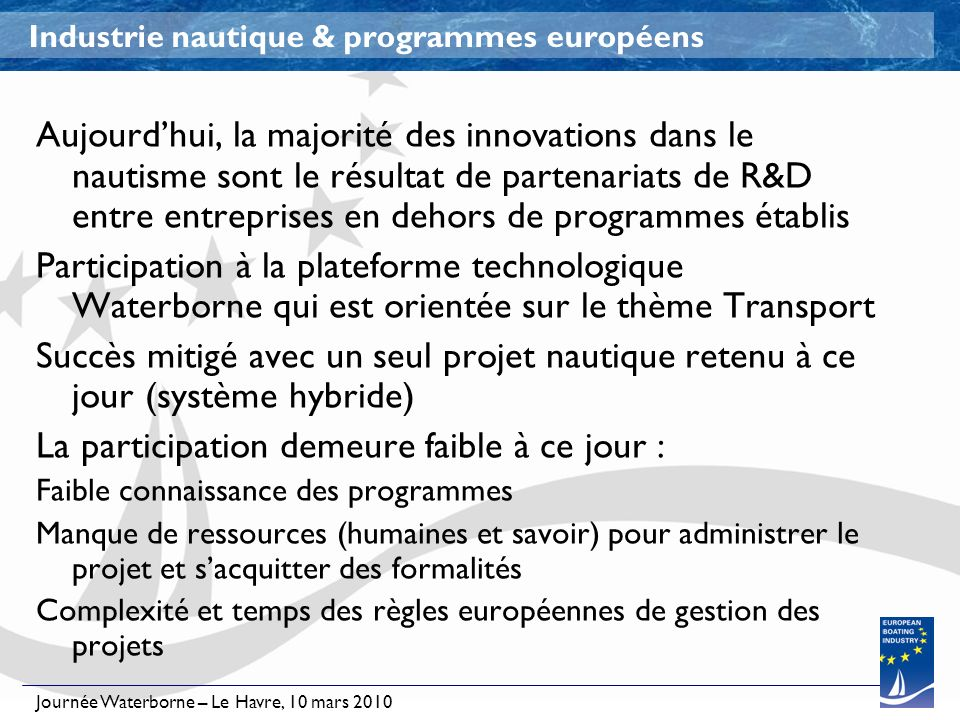 Journée Waterborne – Le Havre, 10 mars 2010 Industrie nautique & programmes européens Aujourdhui, la majorité des innovations dans le nautisme sont le