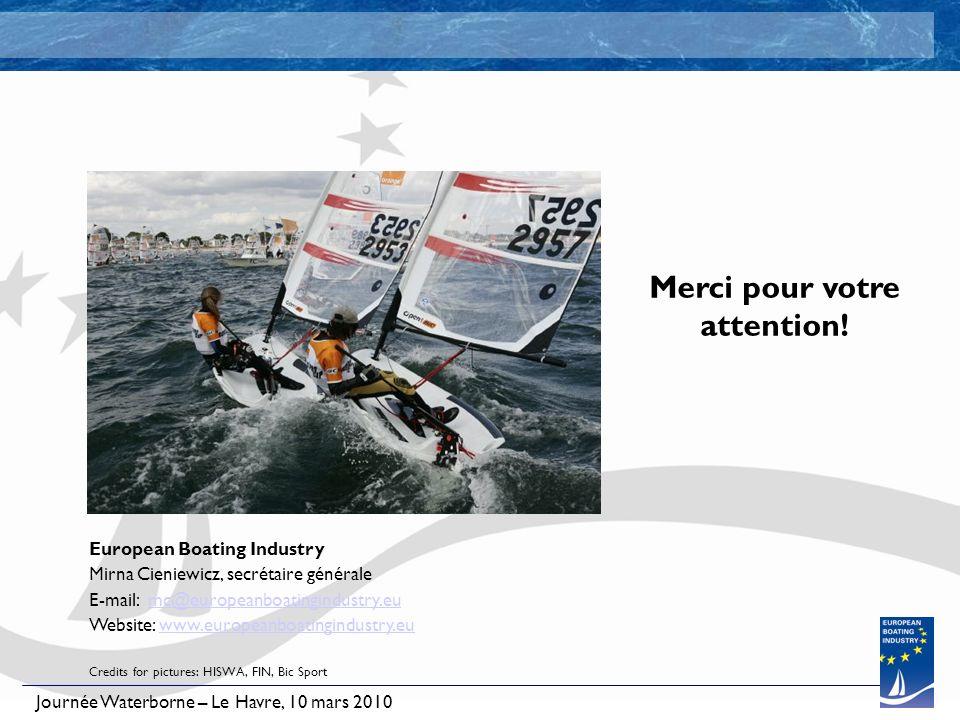 Journée Waterborne – Le Havre, 10 mars 2010 Merci pour votre attention! European Boating Industry Mirna Cieniewicz, secrétaire générale E-mail: mc@eur