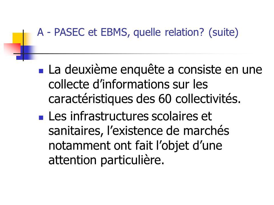 A - PASEC et EBMS, quelle relation? (suite) La deuxième enquête a consiste en une collecte dinformations sur les caractéristiques des 60 collectivités