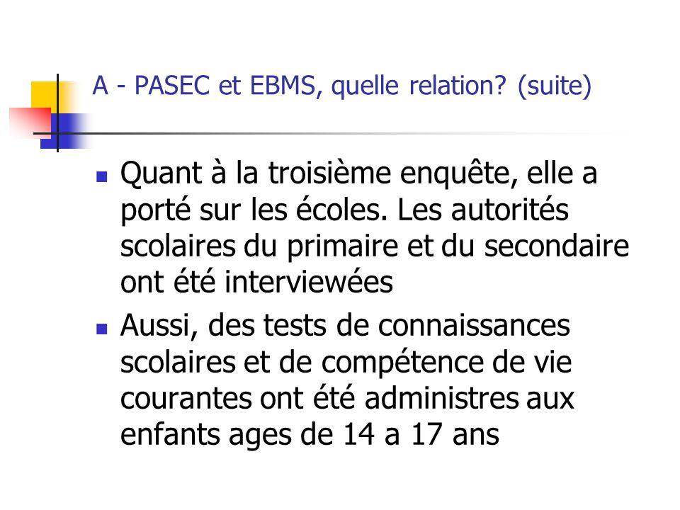 B - Echantillonnage PASEC suivait les enfants scolarisés dune année à une autre, collectait des informations sur les scores des élèves, sur lécole et sur le ménage de lélève EBMS collecte des informations sur le ménage de lenfant en linterrogeant ainsi que les autres membres du ménages