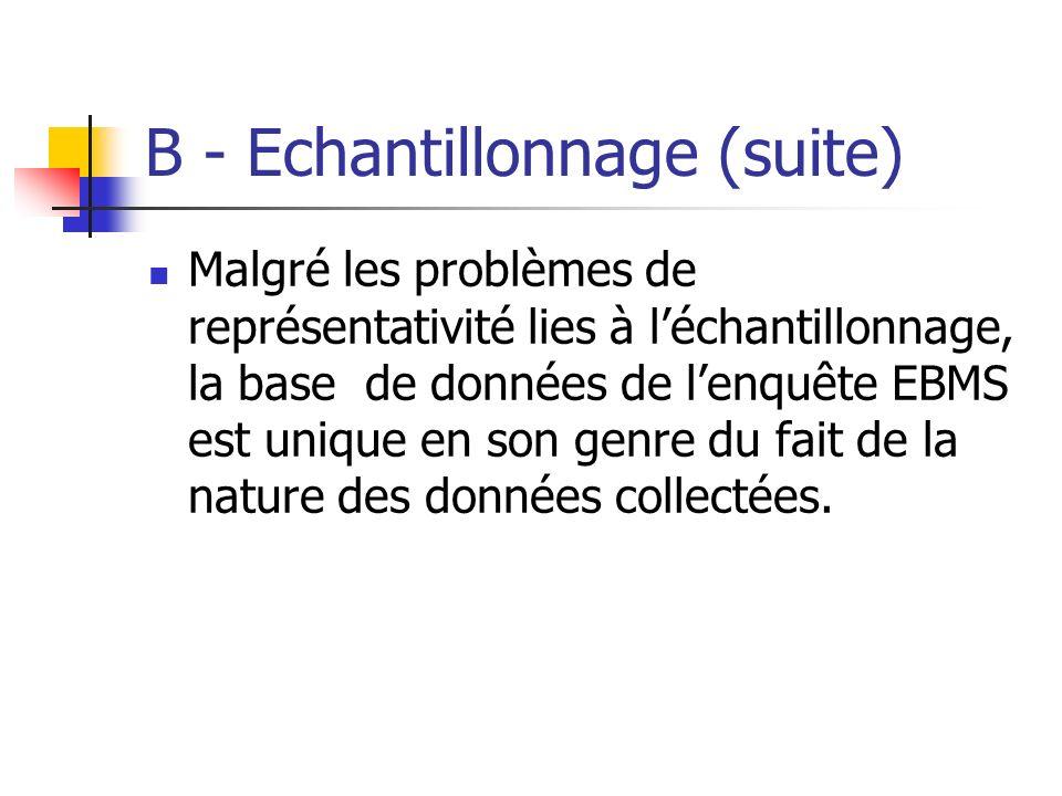 B - Echantillonnage (suite) Malgré les problèmes de représentativité lies à léchantillonnage, la base de données de lenquête EBMS est unique en son ge