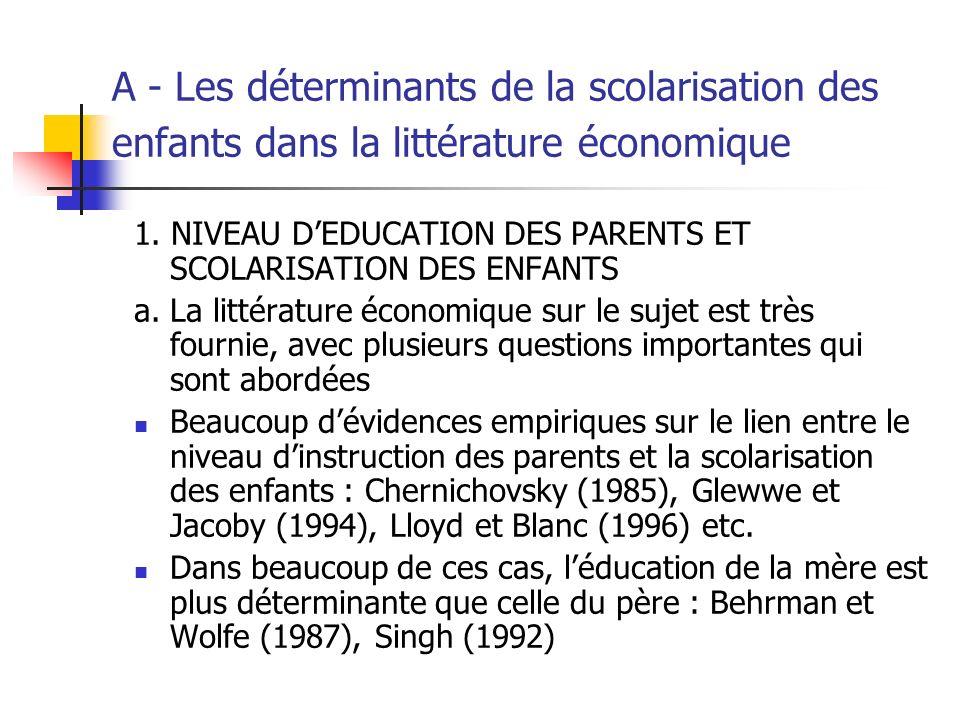 A - Les déterminants de la scolarisation des enfants dans la littérature économique (suite) Ces conclusions sont parfois contestées, par exemple, Cogneau et Morin (2001) ont montré que la relation statistique entre léducation de la mère et la scolarisation des enfants à Madagascar est biaisée.