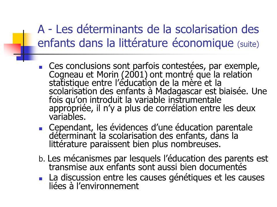 A - Les déterminants de la scolarisation des enfants dans la littérature économique (suite) certains auteurs pensent que le canal par lequel les parents transmettent leur éducation aux enfants est dabord génétique : deux papiers par Behrman et Rosenzweig (2002), et Plug (2004) montrent que si on isole la composant génétique de la relation mère/enfant, la scolarisation de la première na plus dincidence sur celle du second.