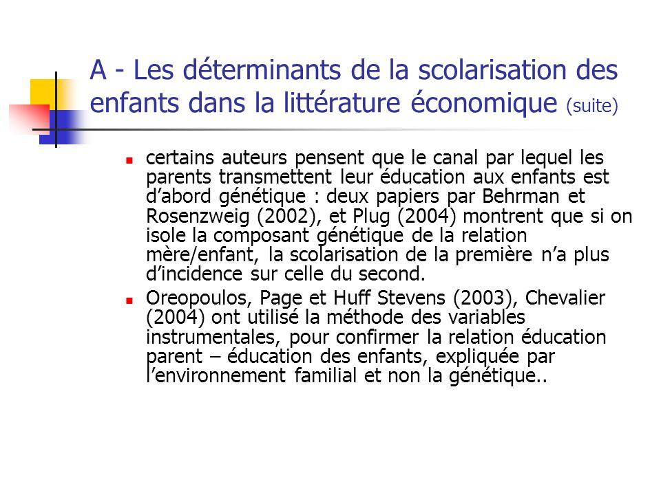 A - Les déterminants de la scolarisation des enfants dans la littérature économique (suite) certains auteurs pensent que le canal par lequel les paren