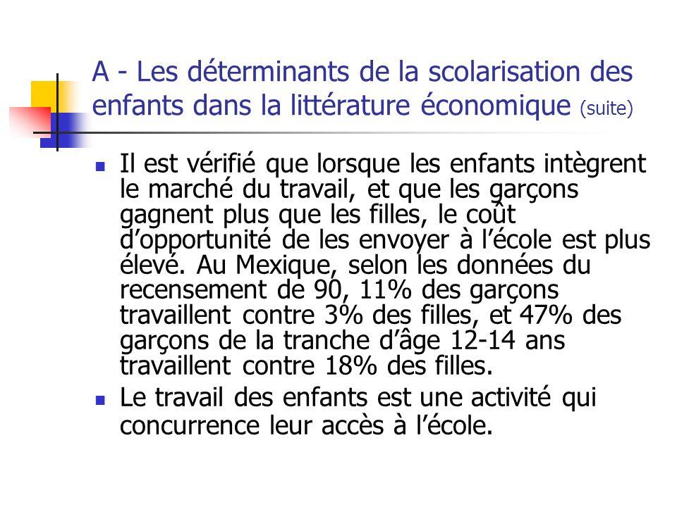 A - Les déterminants de la scolarisation des enfants dans la littérature économique (suite) Il est vérifié que lorsque les enfants intègrent le marché