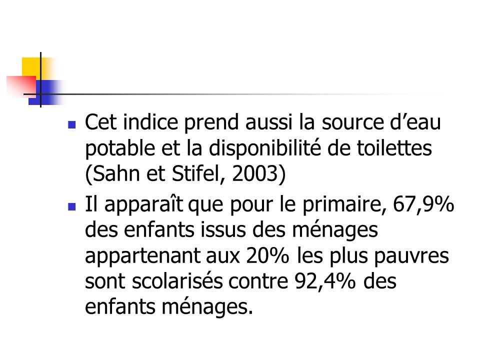 Cet indice prend aussi la source deau potable et la disponibilité de toilettes (Sahn et Stifel, 2003) Il apparaît que pour le primaire, 67,9% des enfa