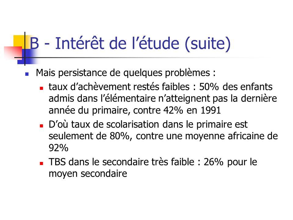 B - Intérêt de létude (suite) Mais persistance de quelques problèmes : taux dachèvement restés faibles : 50% des enfants admis dans lélémentaire natte