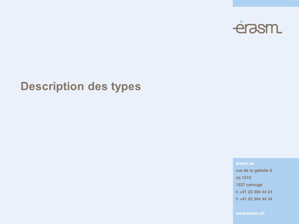 Description des types
