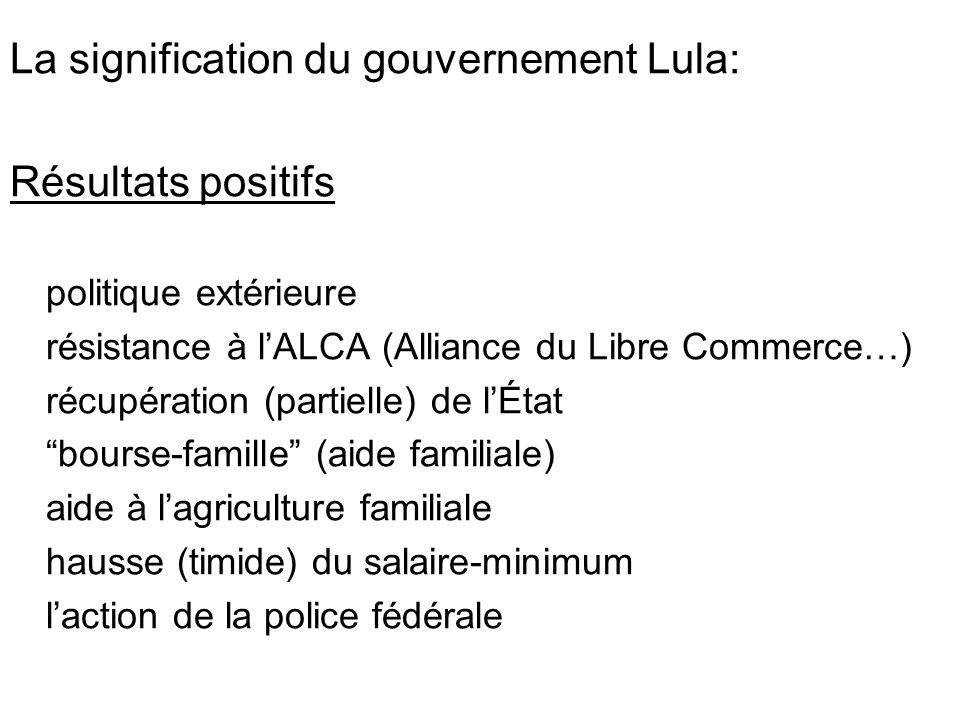 La signification du gouvernement Lula: Résultats positifs politique extérieure résistance à lALCA (Alliance du Libre Commerce…) récupération (partielle) de lÉtat bourse-famille (aide familiale) aide à lagriculture familiale hausse (timide) du salaire-minimum laction de la police fédérale