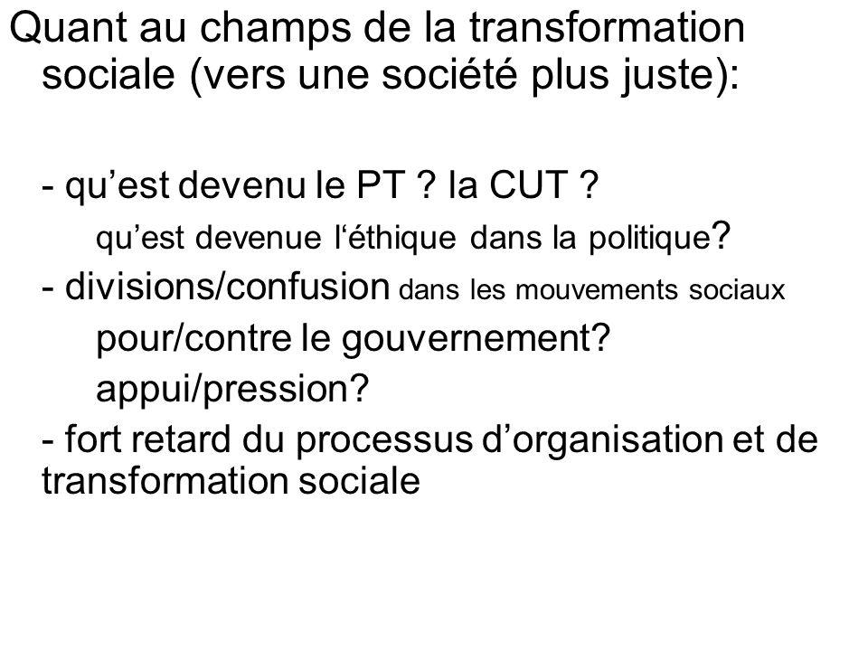 Quant au champs de la transformation sociale (vers une société plus juste): - quest devenu le PT .