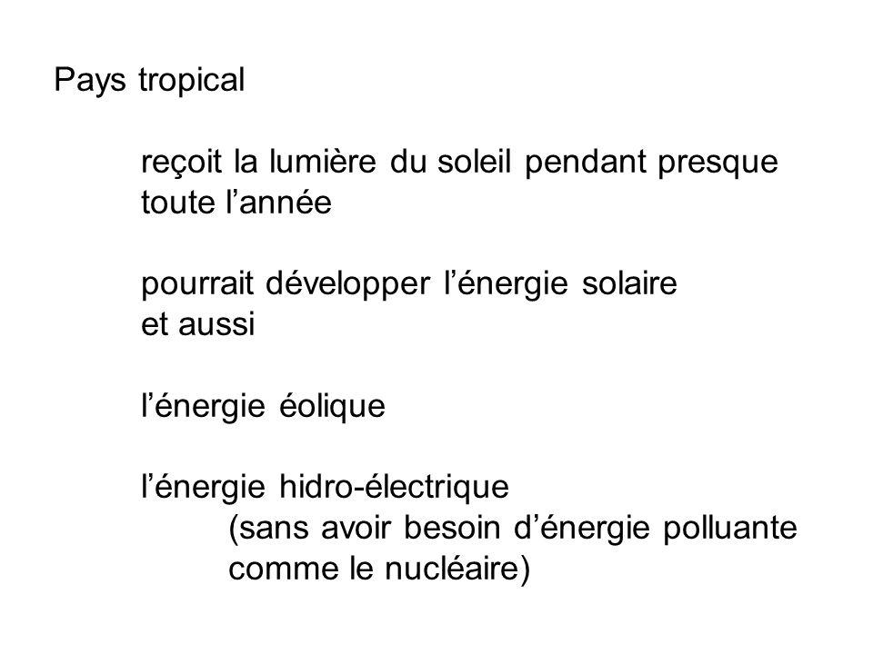 Pays tropical reçoit la lumière du soleil pendant presque toute lannée pourrait développer lénergie solaire et aussi lénergie éolique lénergie hidro-électrique (sans avoir besoin dénergie polluante comme le nucléaire)