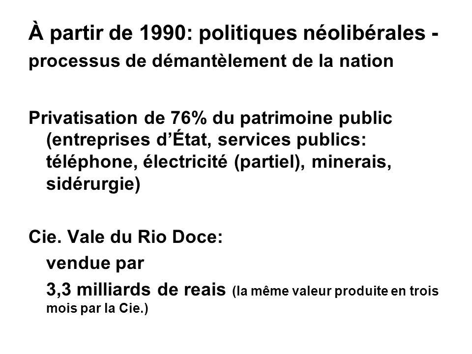 À partir de 1990: politiques néolibérales - processus de démantèlement de la nation Privatisation de 76% du patrimoine public (entreprises dÉtat, services publics: téléphone, électricité (partiel), minerais, sidérurgie) Cie.