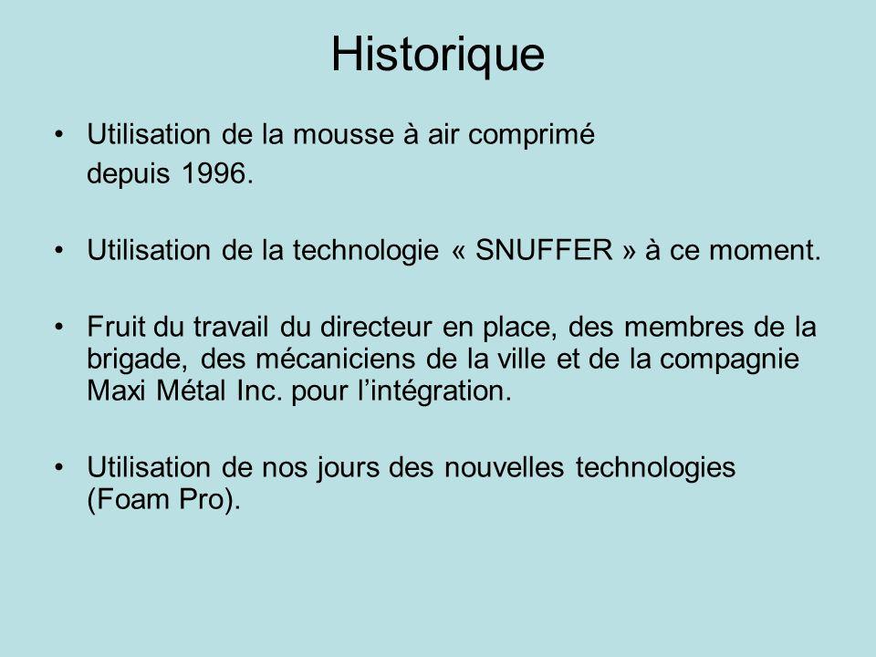 Historique Utilisation de la mousse à air comprimé depuis 1996.