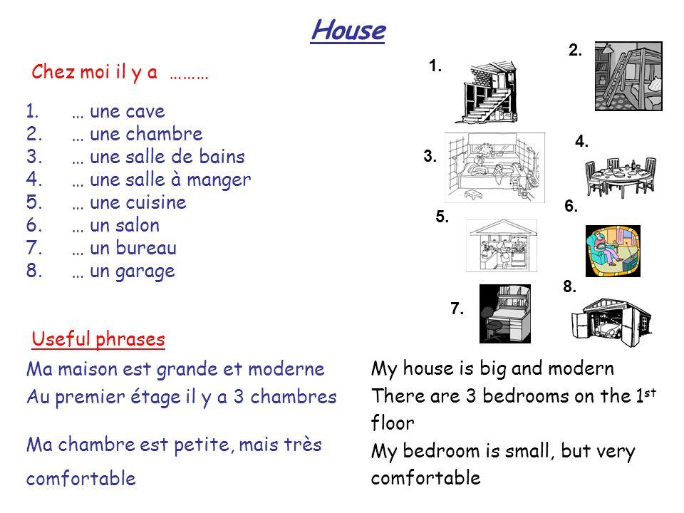 House 1. 2. 3. 4. 8. 7. 6. 5. 1. … une cave 2.… une chambre 3.… une salle de bains 4.… une salle à manger 5.… une cuisine 6.… un salon 7.… un bureau 8