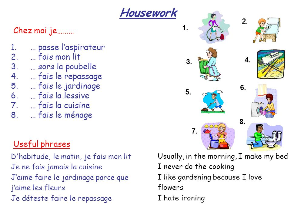 Housework 1. 2. 3. 4. 8. 7. 6. 5. 1.… passe laspirateur 2.… fais mon lit 3.… sors la poubelle 4.… fais le repassage 5.… fais le jardinage 6.… fais la