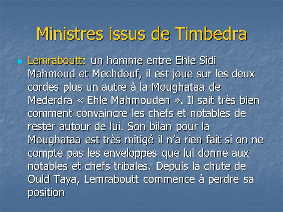 Ministres issus de Timbedra Lemraboutt: un homme entre Ehle Sidi Mahmoud et Mechdouf, il est joue sur les deux cordes plus un autre à la Moughataa de