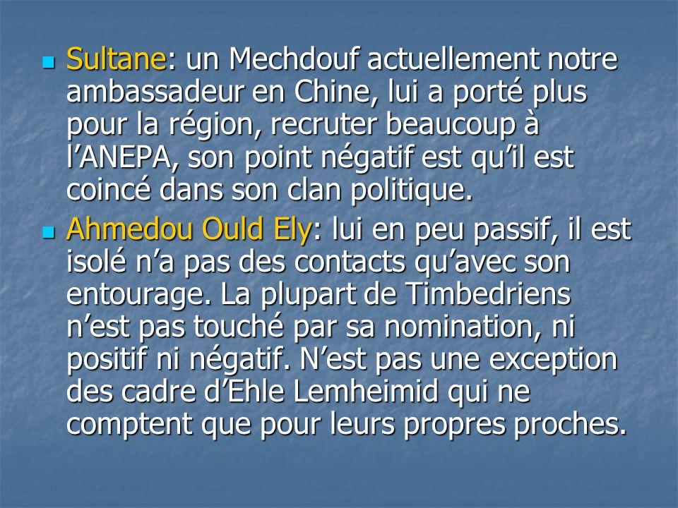Sultane: un Mechdouf actuellement notre ambassadeur en Chine, lui a porté plus pour la région, recruter beaucoup à lANEPA, son point négatif est quil