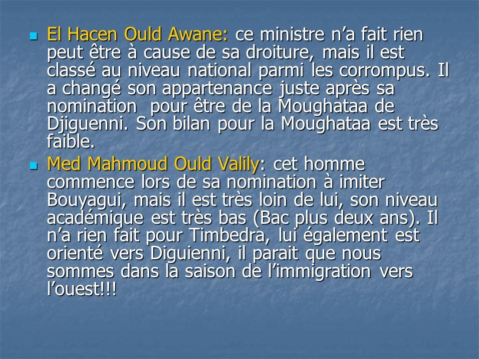 El Hacen Ould Awane: ce ministre na fait rien peut être à cause de sa droiture, mais il est classé au niveau national parmi les corrompus. Il a changé