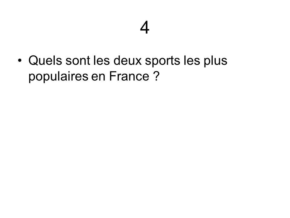 4 Quels sont les deux sports les plus populaires en France ?