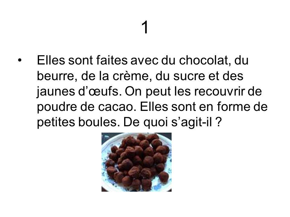 1 Elles sont faites avec du chocolat, du beurre, de la crème, du sucre et des jaunes dœufs. On peut les recouvrir de poudre de cacao. Elles sont en fo