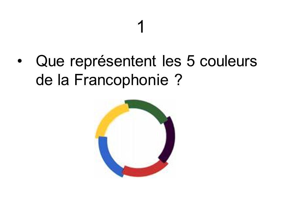 1 Que représentent les 5 couleurs de la Francophonie ?