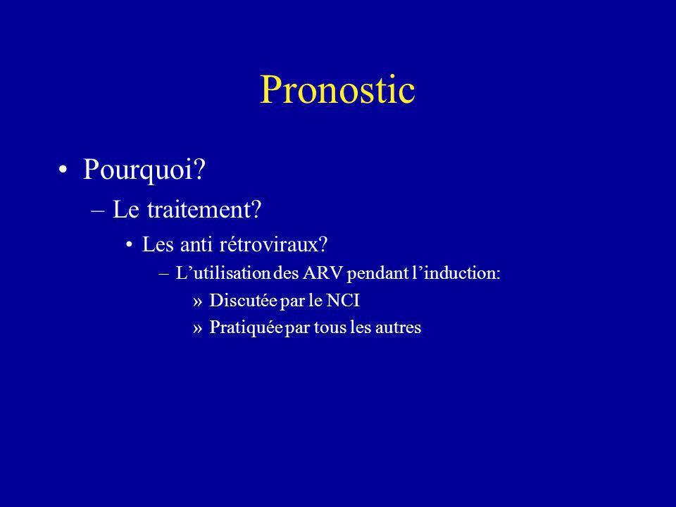 Pronostic Pourquoi? –Le traitement? Les anti rétroviraux? –Lutilisation des ARV pendant linduction: »Discutée par le NCI »Pratiquée par tous les autre