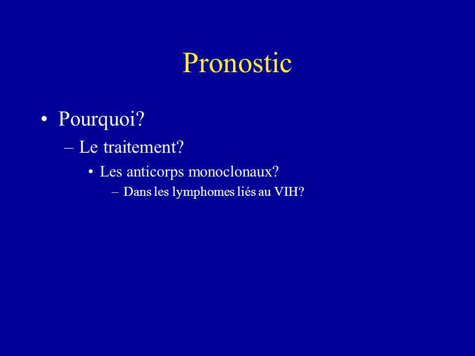 Pronostic Pourquoi? –Le traitement? Les anticorps monoclonaux? –Dans les lymphomes liés au VIH?