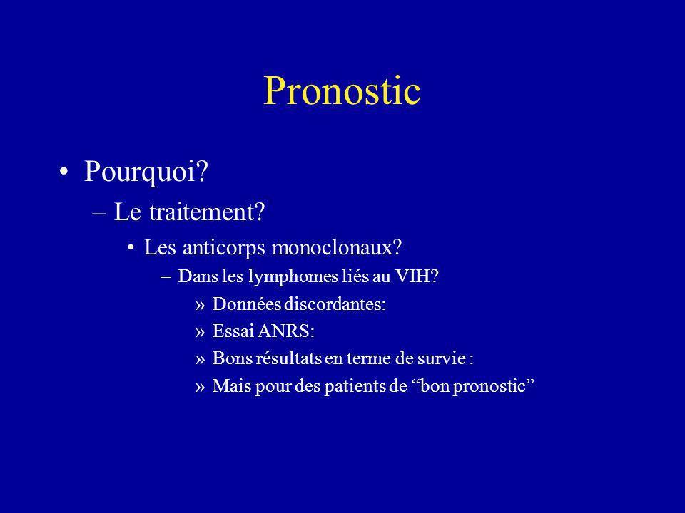 Pronostic Pourquoi? –Le traitement? Les anticorps monoclonaux? –Dans les lymphomes liés au VIH? »Données discordantes: »Essai ANRS: »Bons résultats en
