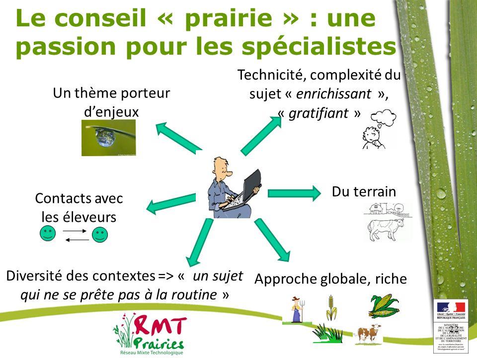 22 Le conseil « prairie » : une passion pour les spécialistes Technicité, complexité du sujet « enrichissant », « gratifiant » Du terrain Approche glo