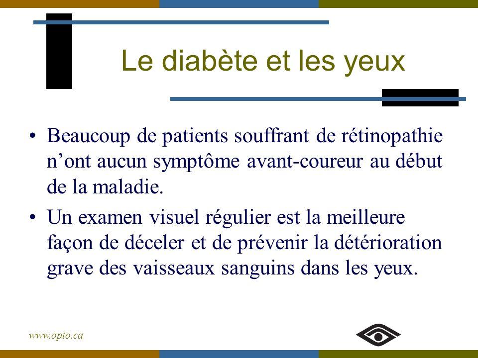 www.opto.ca Le diabète et les yeux Beaucoup de patients souffrant de rétinopathie nont aucun symptôme avant-coureur au début de la maladie. Un examen