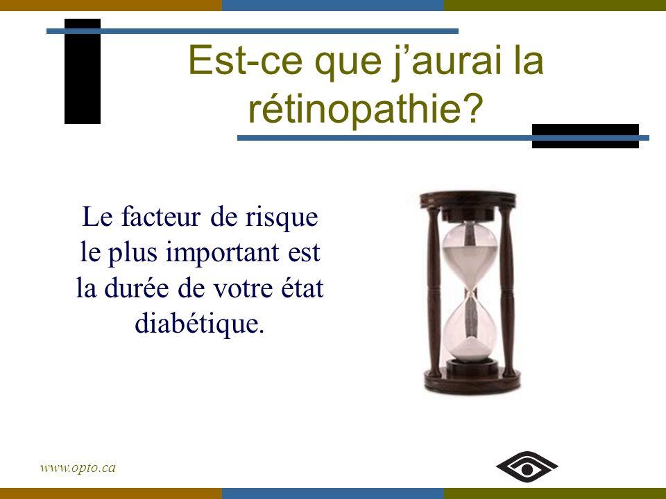 www.opto.ca Est-ce que jaurai la rétinopathie? Le facteur de risque le plus important est la durée de votre état diabétique.