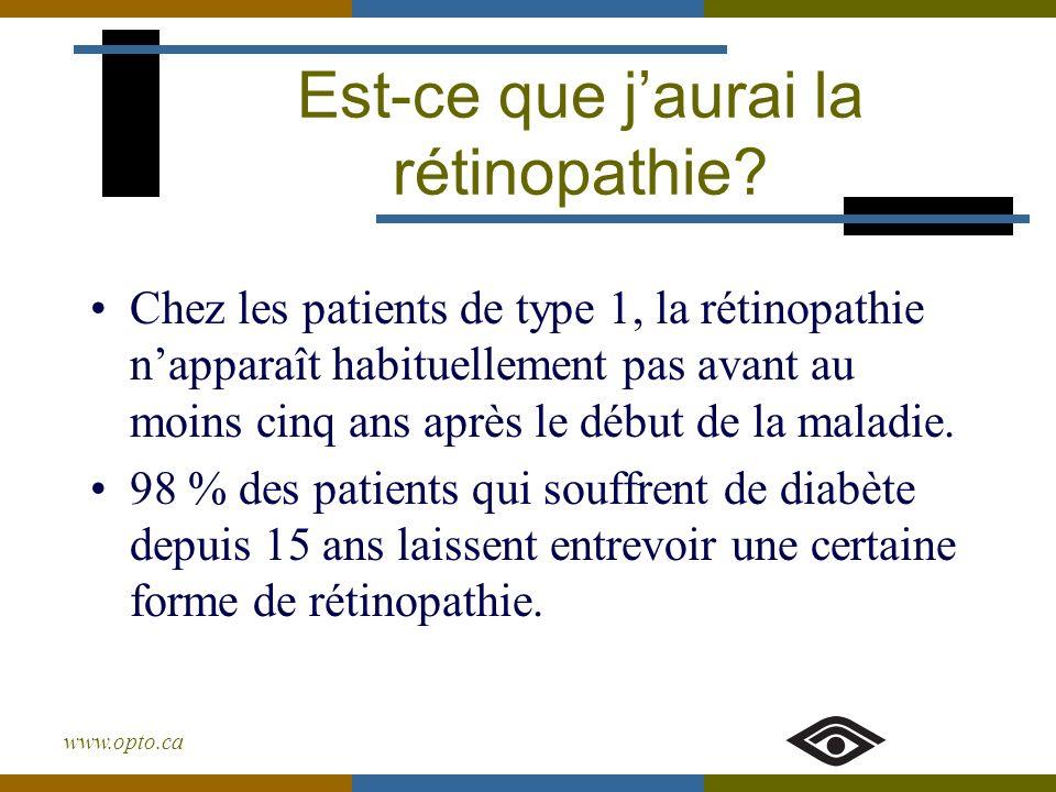 www.opto.ca Chez les patients de type 1, la rétinopathie napparaît habituellement pas avant au moins cinq ans après le début de la maladie. 98 % des p