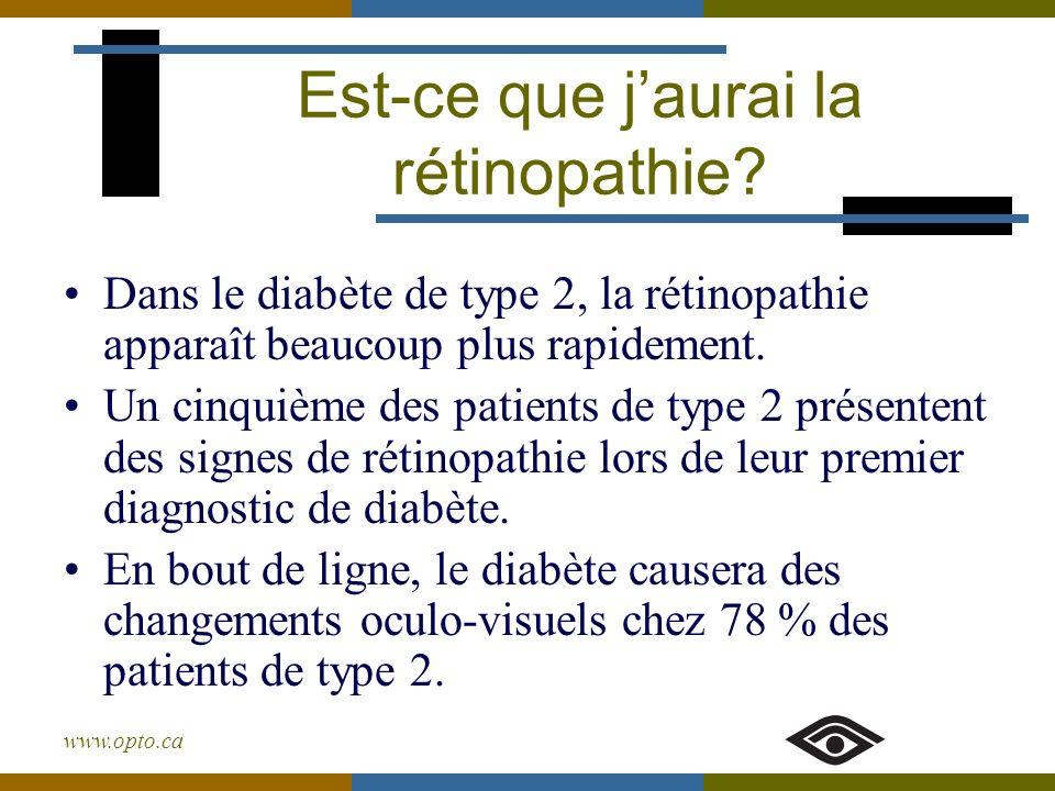 www.opto.ca Dans le diabète de type 2, la rétinopathie apparaît beaucoup plus rapidement. Un cinquième des patients de type 2 présentent des signes de