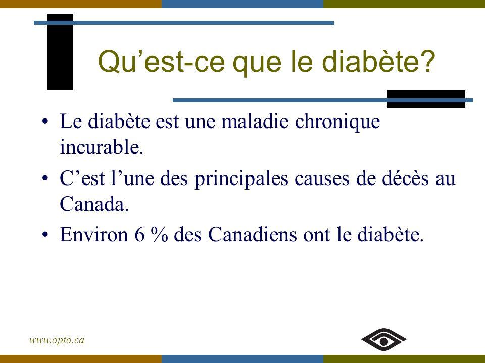 www.opto.ca Quest-ce que le diabète? Le diabète est une maladie chronique incurable. Cest lune des principales causes de décès au Canada. Environ 6 %