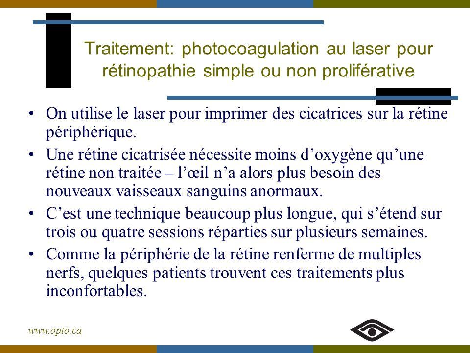 www.opto.ca On utilise le laser pour imprimer des cicatrices sur la rétine périphérique. Une rétine cicatrisée nécessite moins doxygène quune rétine n