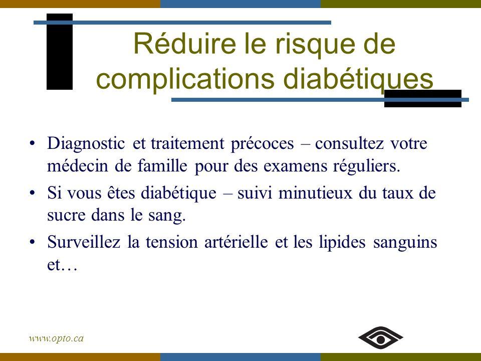 www.opto.ca Réduire le risque de complications diabétiques Diagnostic et traitement précoces – consultez votre médecin de famille pour des examens rég