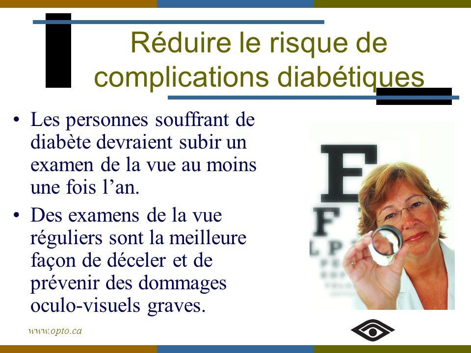 www.opto.ca Les personnes souffrant de diabète devraient subir un examen de la vue au moins une fois lan. Des examens de la vue réguliers sont la meil