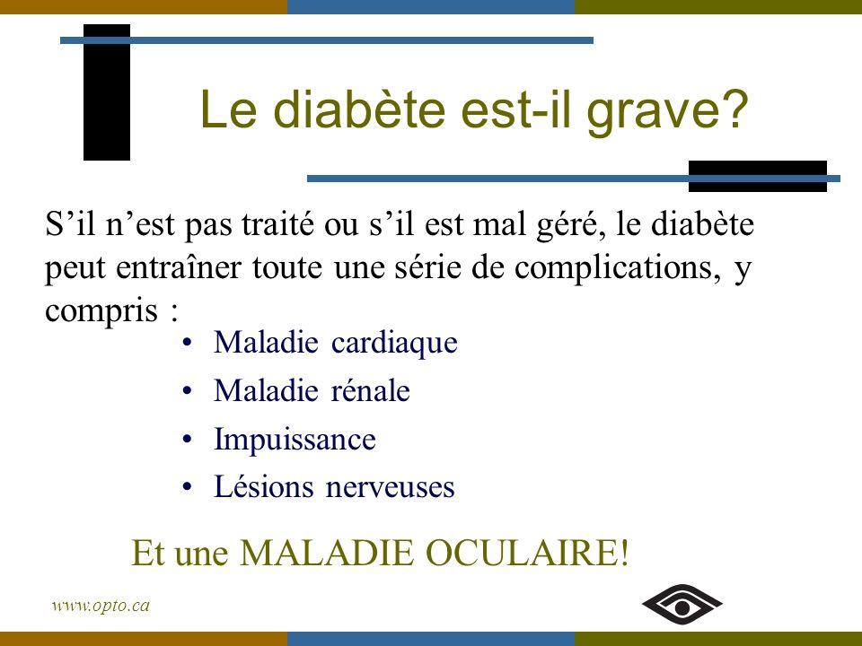 www.opto.ca Le diabète et les yeux Fluctuation de la vision Cataracte Glaucome Rétinopathie diabétique Quelques-uns des problèmes oculaires reliés au diabète :