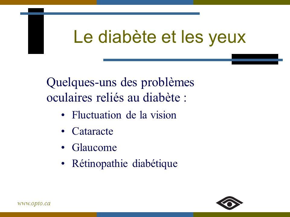 www.opto.ca Le diabète et les yeux Fluctuation de la vision Cataracte Glaucome Rétinopathie diabétique Quelques-uns des problèmes oculaires reliés au