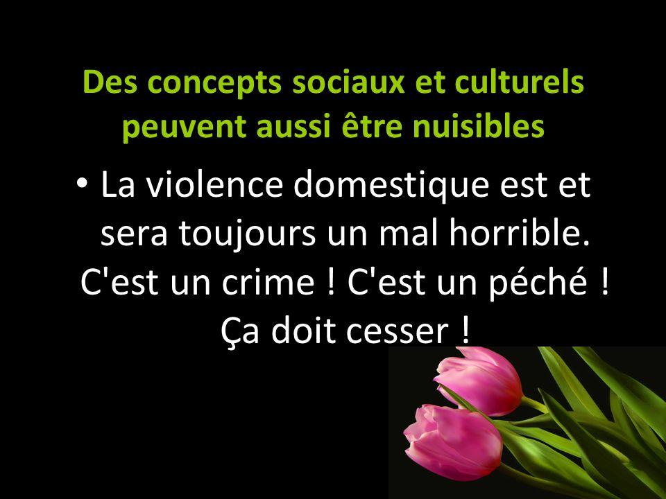 Des concepts sociaux et culturels peuvent aussi être nuisibles La violence domestique est et sera toujours un mal horrible. C'est un crime ! C'est un