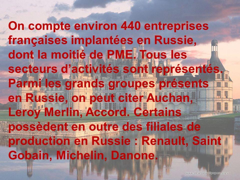 On compte environ 440 entreprises françaises implantées en Russie, dont la moitié de PME. Tous les secteurs dactivités sont représentés. Parmi les gra