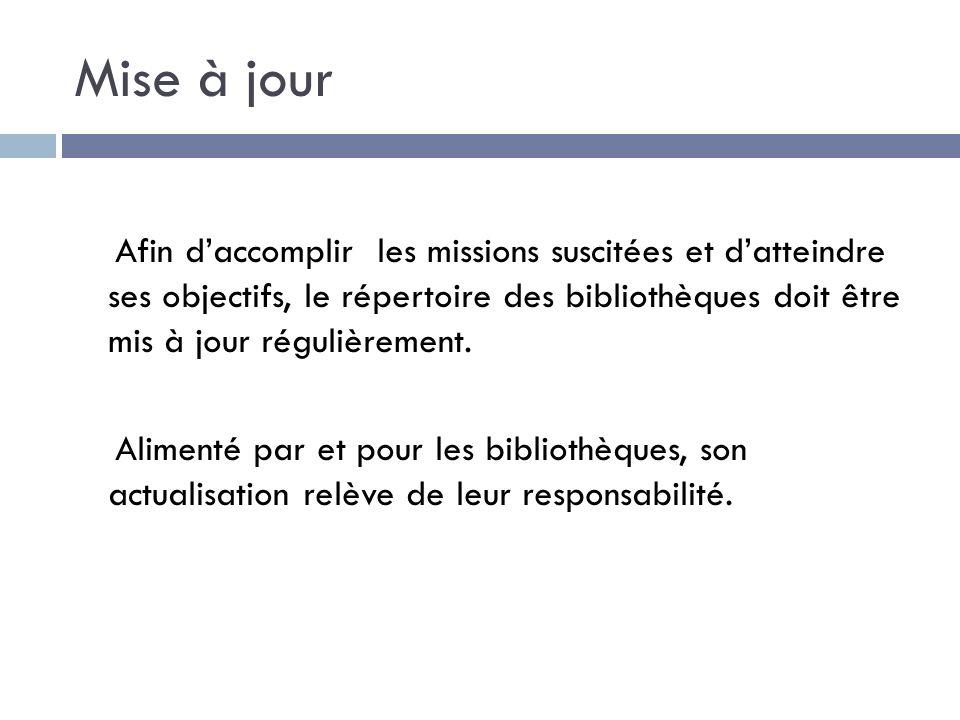 Mise à jour Afin daccomplir les missions suscitées et datteindre ses objectifs, le répertoire des bibliothèques doit être mis à jour régulièrement.